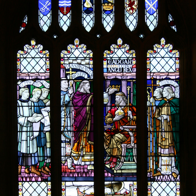 """""""Stained glass, Bath Cathedral"""" stock image"""