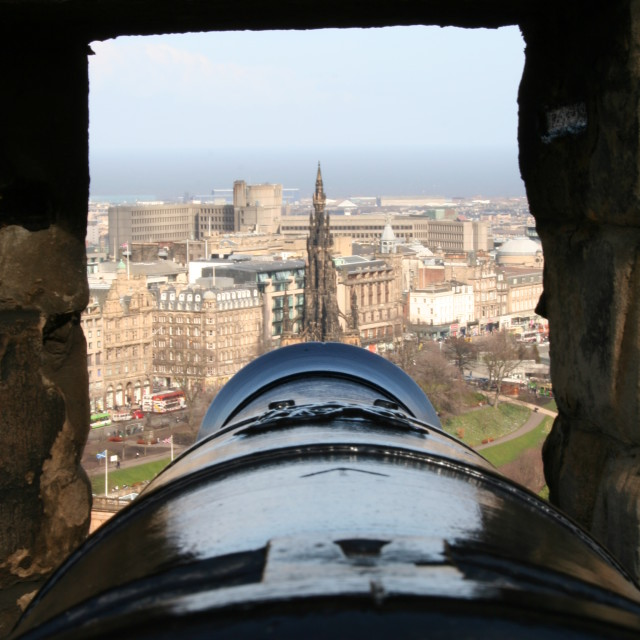 """Cannon, Edinburgh Castle"" stock image"