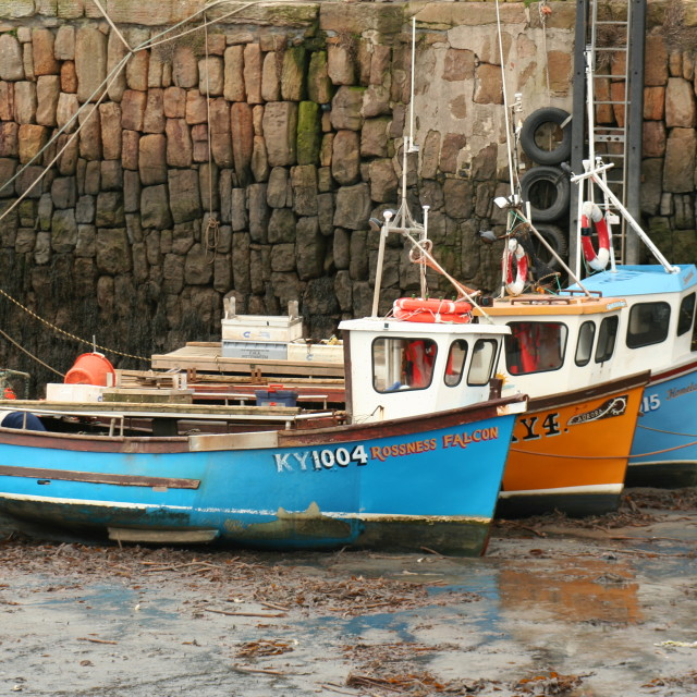 """Low tide in Crail harbour"" stock image"