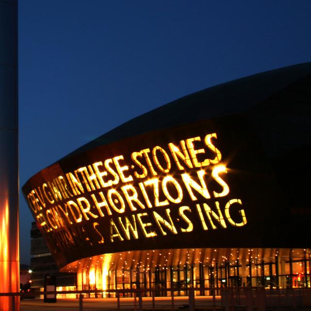 """Wales Millennium Centre at dusk"" stock image"