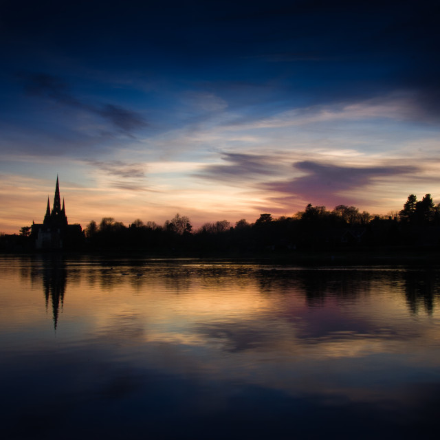 """Lichfield Cathedral Sunset"" stock image"