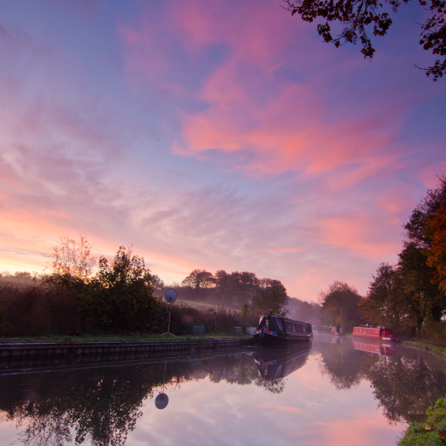 """Sunrise over Staffordshire & Worcestershire canal"" stock image"