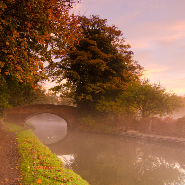 """Canal in the mist"" stock image"