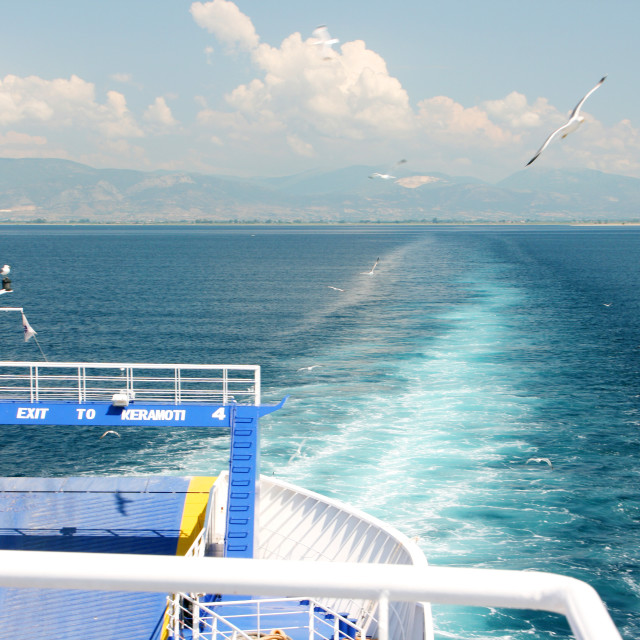 """Greece mainland - view from ferry to Thassos island"" stock image"