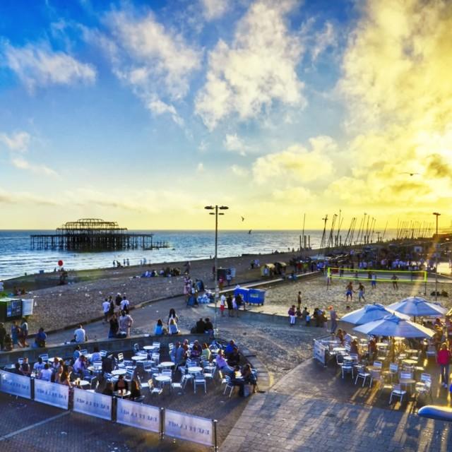 """""""Brighton beach at sunset"""" stock image"""