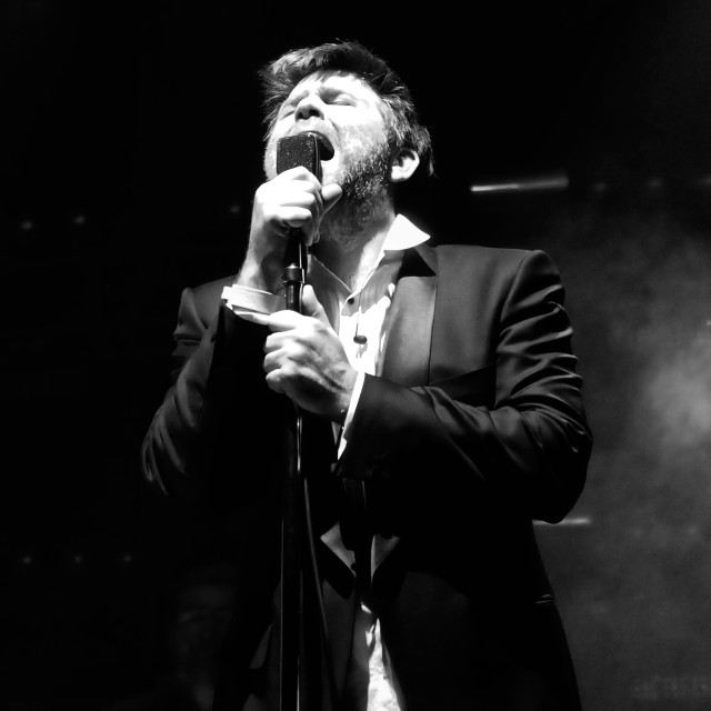 """James Murphy sings at LCD Soundsystem's final gig"" stock image"