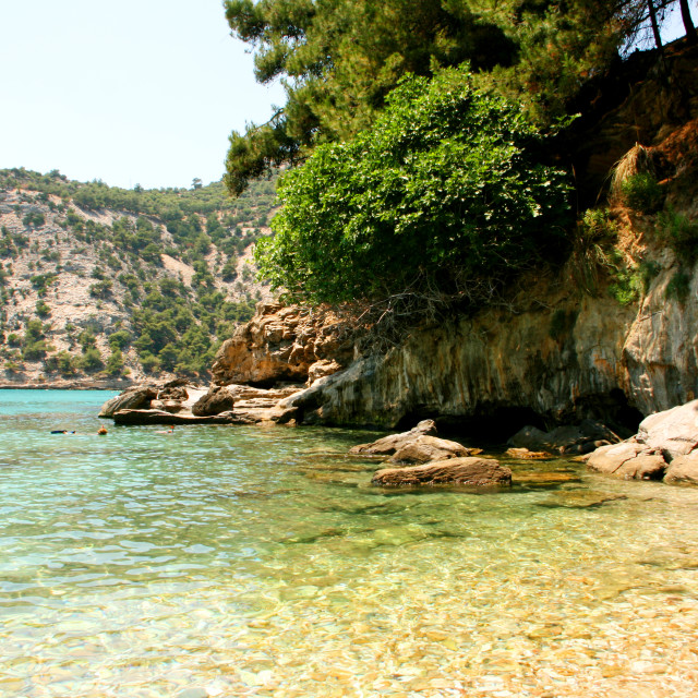 """Wild beach in Thassos island, Greece"" stock image"