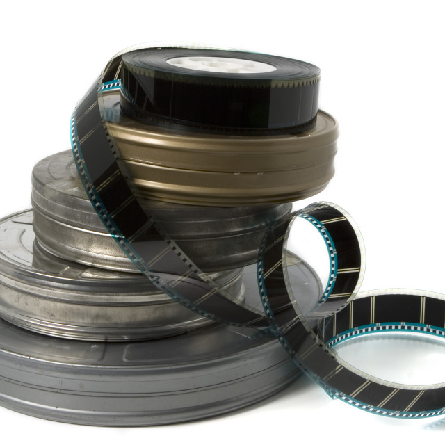 """""""Movie Film Cans with Trailer"""" stock image"""