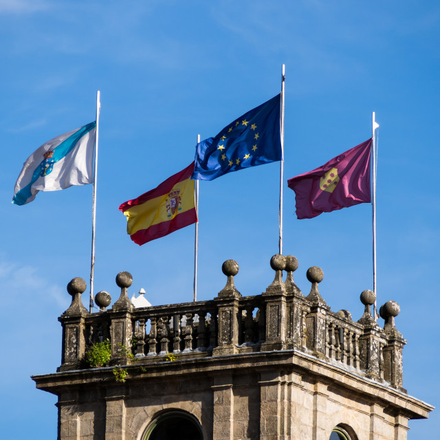 """Spanish and European Flags"" stock image"