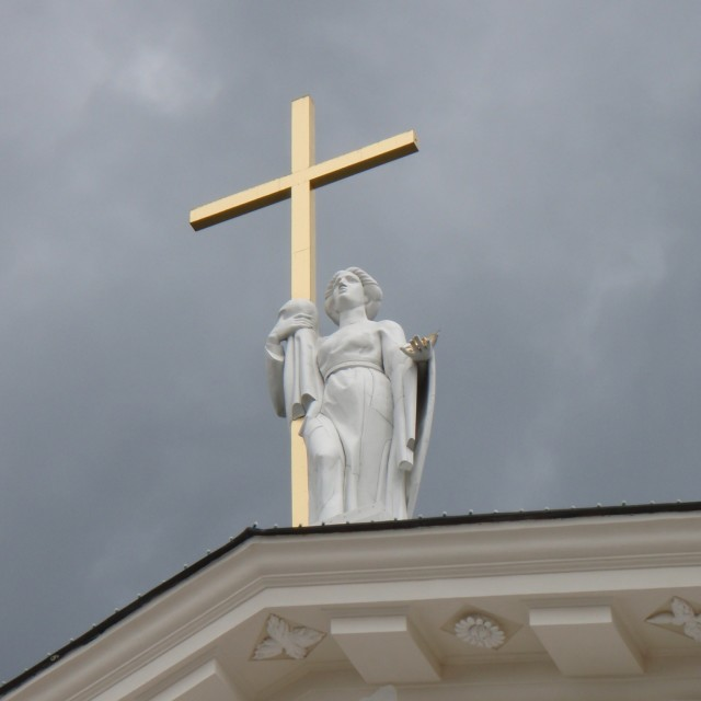 """Cross above Vilnius Cathedral in Vilnius, Lithuania."" stock image"