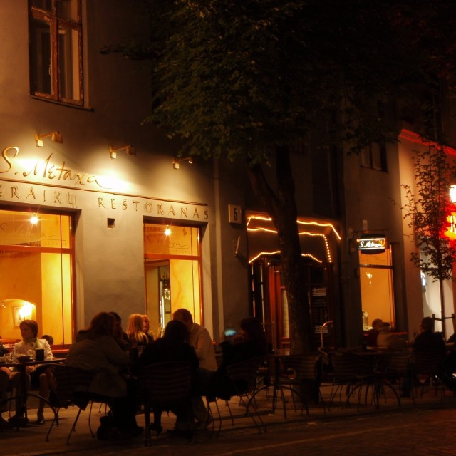 """Outdoor dining in the Old Town in Vilnius, Lithuania."" stock image"