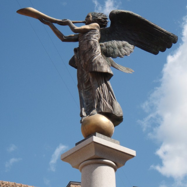 """Angel of Užupis statue, Vilnius, Lithiania."" stock image"
