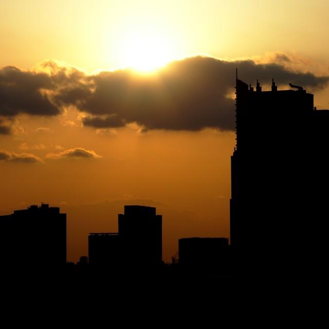 """Odaiba at sunset"" stock image"
