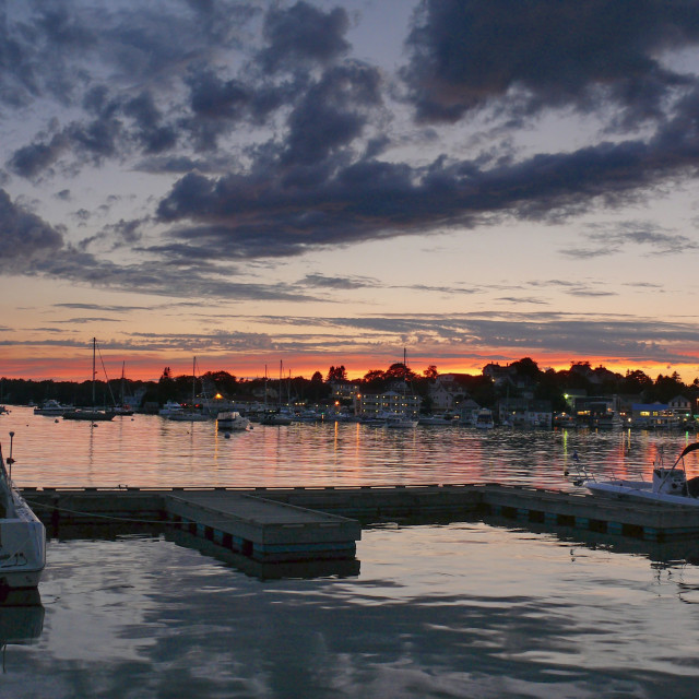 """Sunset at East Boothbay Harbor"" stock image"