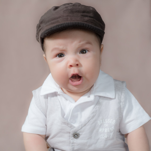 """Cute baby wearing hat"" stock image"