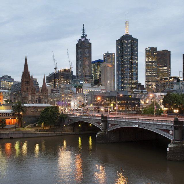 """Melbourne at Dusk"" stock image"