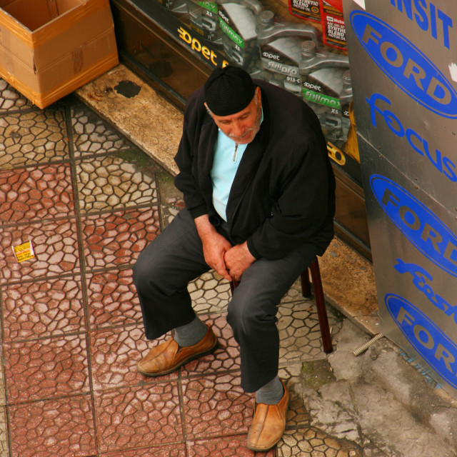 """Istanbul old salesman taking a break"" stock image"