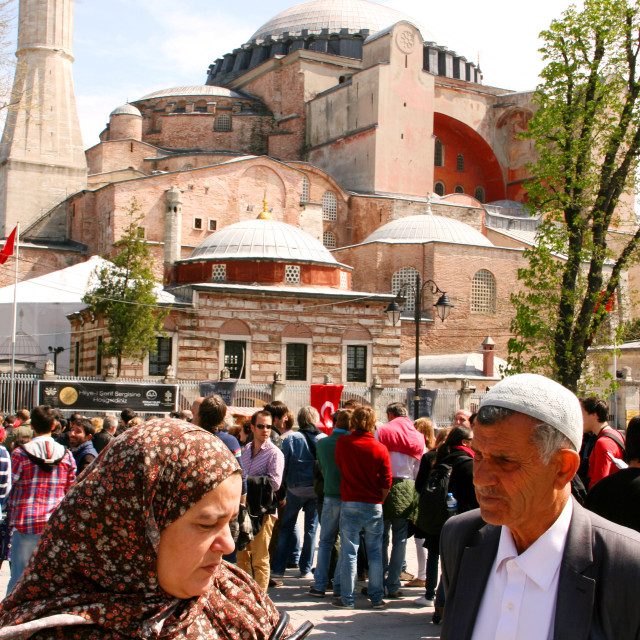 """Crowd of people in front of Hagia Sophia, Istanbul, Turkey"" stock image"