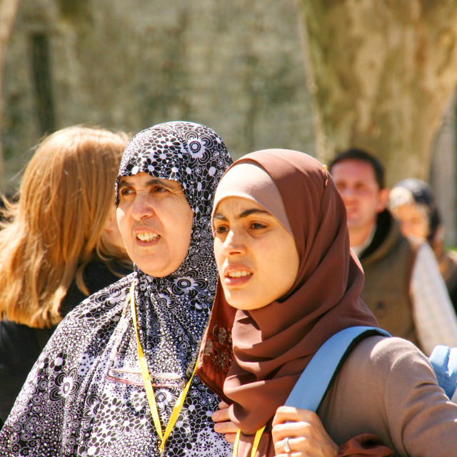 """Two muslim ladies in crowd at Topkapi Palace, Istanbul, Turkey"" stock image"