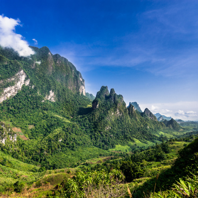 """Mountains in Northern Laos"" stock image"