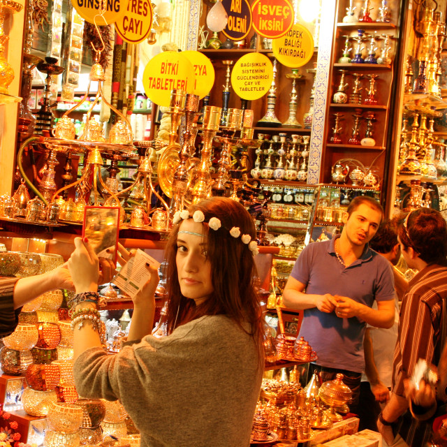 """Shopping in Egyptian Spice Bazaar, Istanbul, Turkey"" stock image"