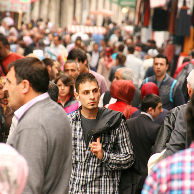 """Crowded street around Grand Bazaar, Istanbul, Turkey"" stock image"
