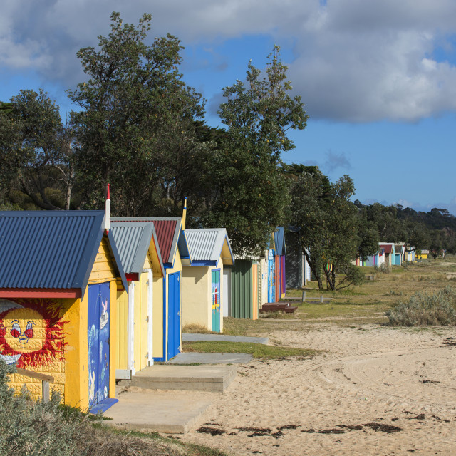 """Painted beachouses"" stock image"