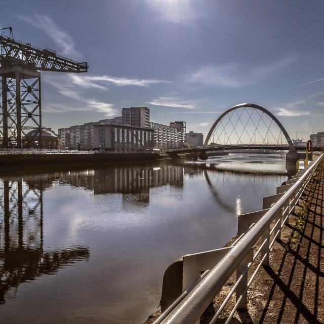 """Clyde Arc/Finneston Crane, Glasgow, Scotland, UK"" stock image"