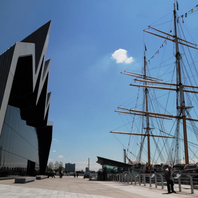 """Riverside Museum and Glenlee ship, Glasgow, Scotland, UK"" stock image"