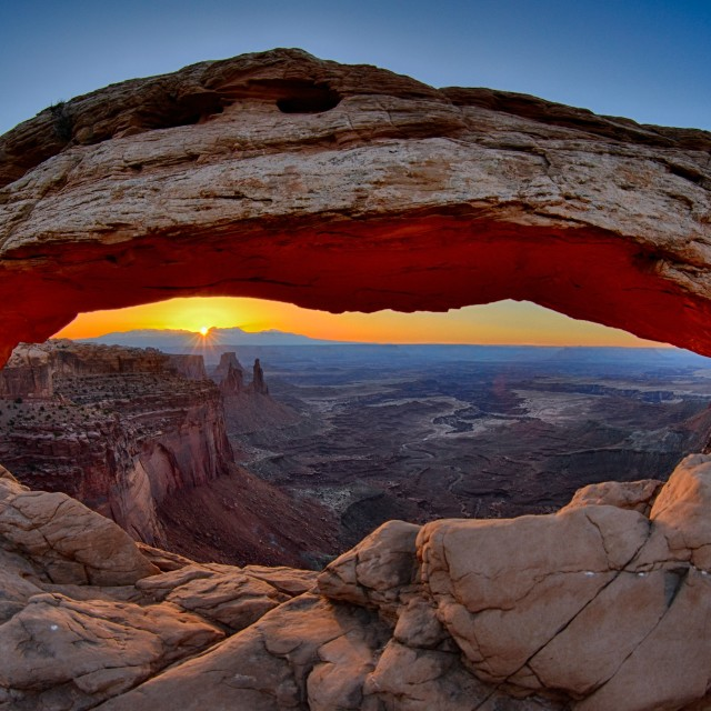 """Sunrise at Mesa Arch"" stock image"