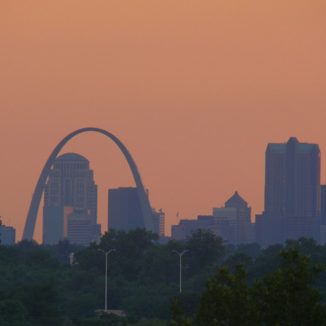 """Sunset at St. Louis Arch"" stock image"