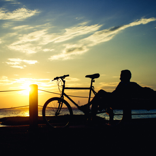 """Biker Sunset"" stock image"