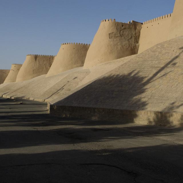 """City walls of Khiva"" stock image"