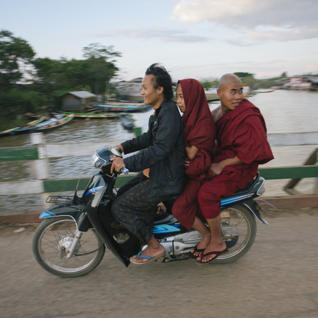 """Monks on a motorbike"" stock image"