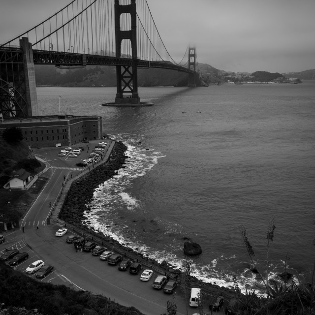 """Golden Gate Bridge seen from the Presidio, San Francisco"" stock image"