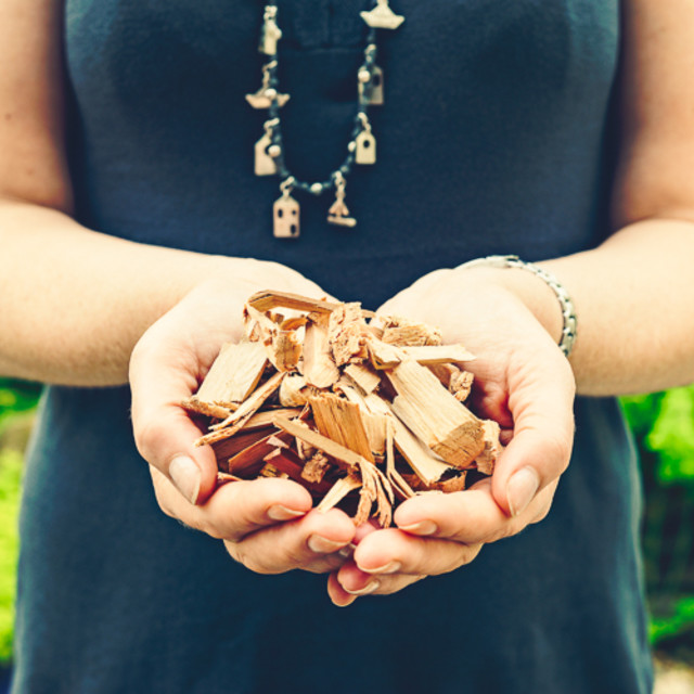 """Handful of wood chips"" stock image"