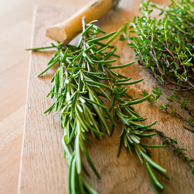 """Herbs on a board"" stock image"