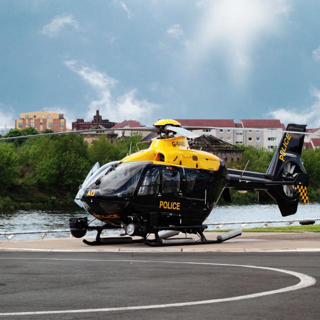 """Strathclyde Police Helicopter, Glasgow, Scotland, UK"" stock image"