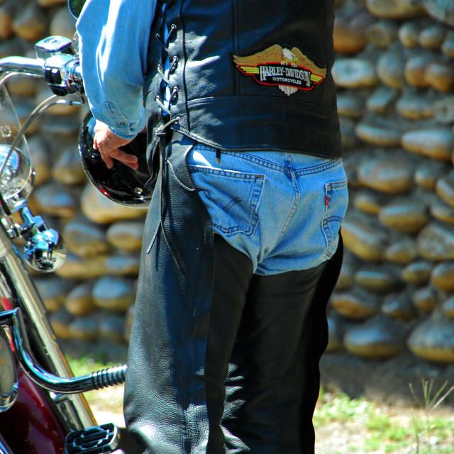 """Biker, Lolo Pass, Idaho"" stock image"