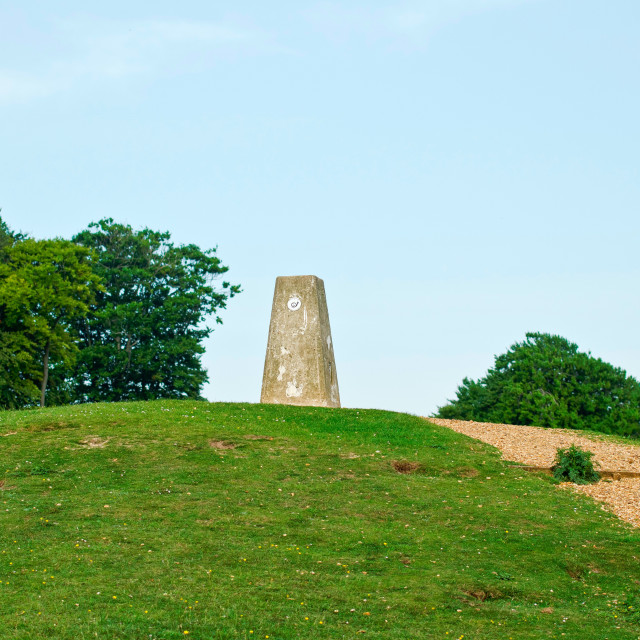 """Danebury Hillfort trig point"" stock image"