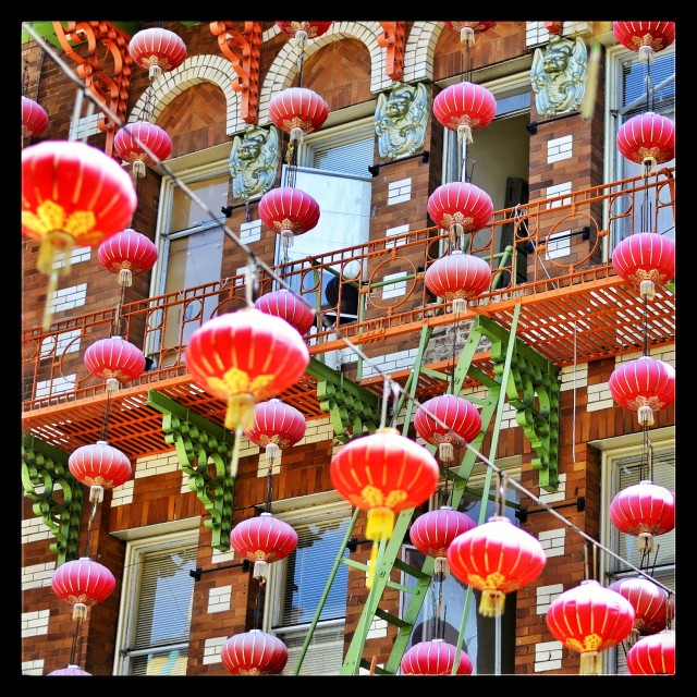 """Red lanterns in Chinatown"" stock image"