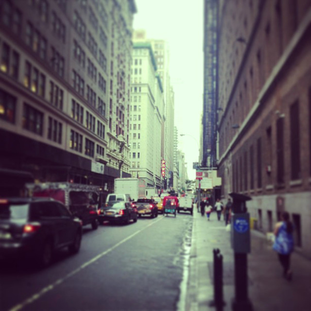 """Manhattan Side Street On A Rainy Day"" stock image"