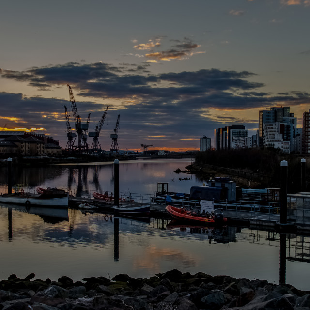 """Sunset on the River Clyde"" stock image"