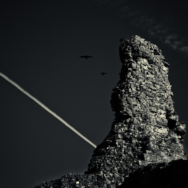 """Birds, rocks and plane trails"" stock image"