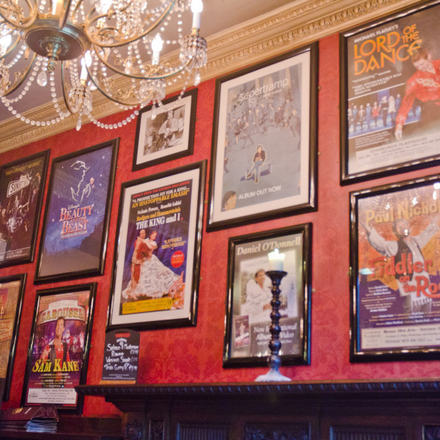 """Posters in the Theatre Royal bar in Edinburgh"" stock image"