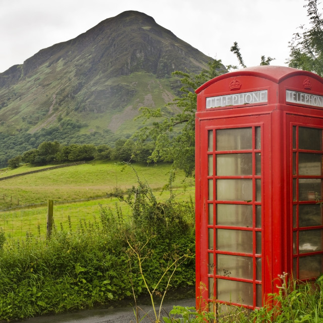 """Telephone Booth in Lake District"" stock image"