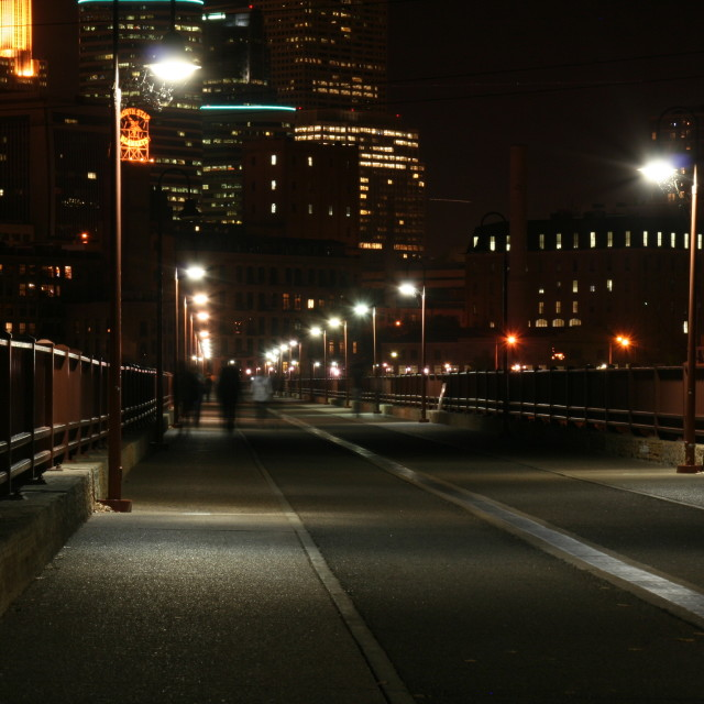 """Well lit bridge into Minneapolis"" stock image"