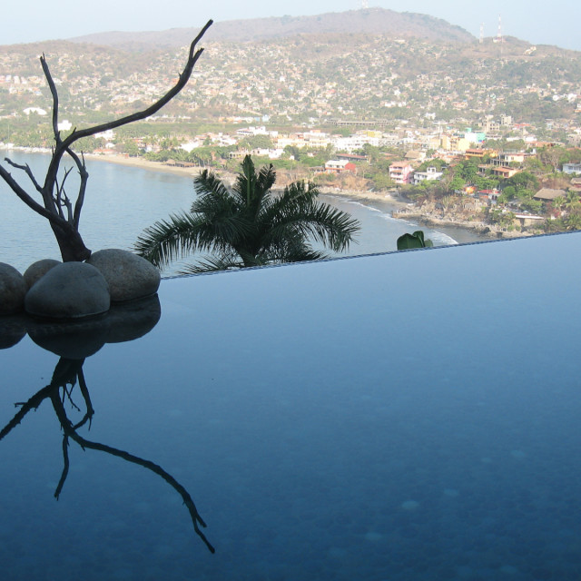 """Infinity pool with art"" stock image"