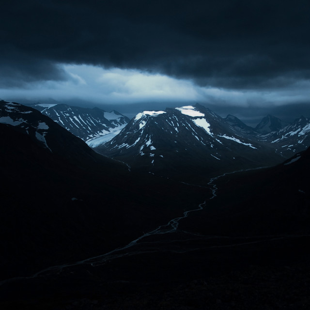 """Thunder clouds gathering over a glacier"" stock image"