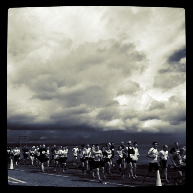 """""""Marathon runners (black and white)"""" stock image"""